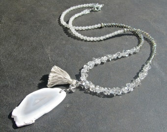 Agate Slice Statement Necklace, Long Stone Necklace, Tassel Necklace, White Stone, Natural Crystal Quartz, Sparkly Necklace, Boho Chic  1188