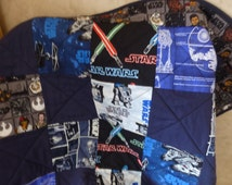 Star Wars*Millennium Falcon*Tie Fighters*The Force Awakens*Light Sabre*Navy fabric custom made Baby*Child Crib*Cot Quilt/Blanket/Bedding