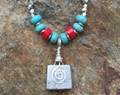Beaded Rock Climber Necklace Made From Retired Vintage Chouinard Climbing Rock Stopper, Turquoise, Coral, & Sterling Silver