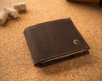 Mens Wallet with Coins Pocket - Cork Wallet for Men made in Portugal - Vegan Wallet - Minimal Wallet - Eco Wallet Dark / Light Brown (CK137)