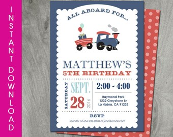 Train Birthday Invitation, Self Editable, Instant Download, Train Party, Double Sided, Printable, Baby Shower, Personalize, Digital Pdf File
