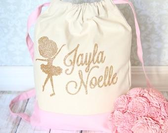 Ballet Bag- Dance Bag - Ballet Backpack - Ballet Drawstring Tote Pink and Gold.  Beautiful Ballet bag perfect for your little ballerina