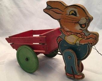 Adorable Old Bunny and Wagon Pull Toy - Works Beautifully - Looks Amazing