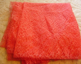 Coral Chantilly Lace Yardage/Sewing Supply