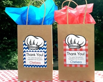"Cooking Gift Bags WITH Labels • Gift Bag size 5 1/2"" x 3 1/4"" x 8 3/8"" •  SMALL"