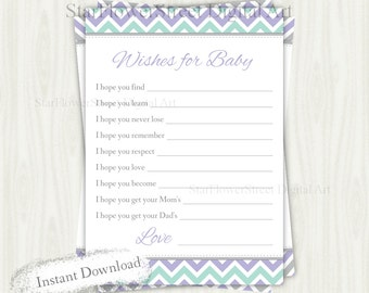 Wishes for Baby Girl chevron lavender mint purple green cards printable digital instant download shower decoration party well wish advice