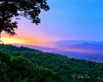 Sunset ,Blue Ridge Mountains, Landscape Photography, North Carolina, Smokey Mountain,North Carolina, Print