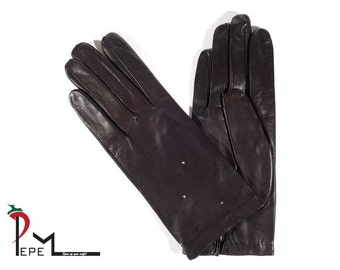 Soft lambskin brown leather women gloves with silk lining size 7-M - FIORELLA