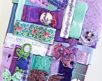 Purple and Aqua Inspiration Kit*Vintage Lace, Ribbons and Trims*Purple and Aqua Mosaic