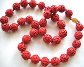 RESERVED :  CHINESE CINNABAR Carved Dogwood Flower Necklace Vintage Chinese Export c 1950