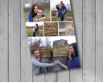 Custom Rustic Save the Date Photo Magnet, Post Card or Digital