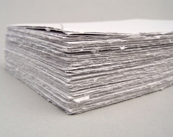 White handmade paper, recycled, deckle edge, 5.5 x 8.5 inch sheets, set of 10