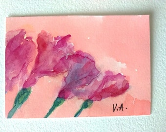 Original aceo painting, flower aceo, floral aceo, watercolor aceo, watercolor miniature, miniature painting, artist trading card, atc