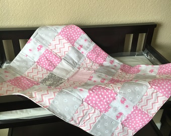 Baby Girl Quilt Pink and Gray Newborn Flannel Quilt