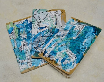 Hand painted journal in blue sea breeze design, original painting on small moleskine journal