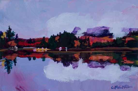 Maine Landscape Painting Katahdin Lake 12