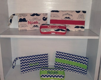 New Baby Gift Set. Wipes Case, Diaper Clutch & Changing Pad.  Personalized for Free.