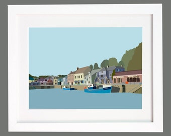 Padstow Harbour, Cornwall. Illustration