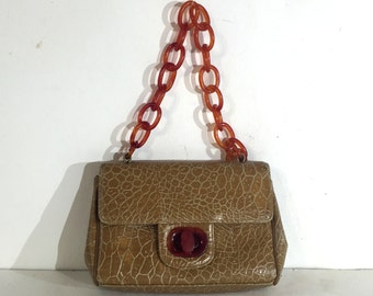 1960s vegan Meyers beige faux turtle handbag with gorgeous lucite chain strap and clasp  - faux bakelite purse - faux crocodile purse
