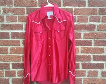 Vintage Red Rockmount Ranch Wear Womens Western Shirt Small