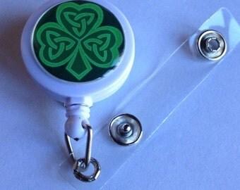 Celtic Shamrock St. Patrick's Day Themed  ID Badge Reel