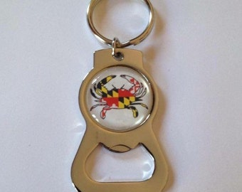 SALE Maryland Flag Crab Themed Bottle Opener Keychain SALE