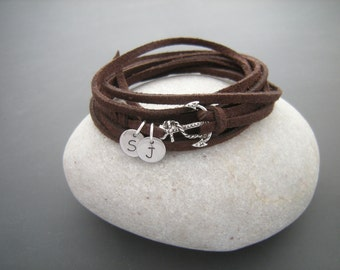 Friendship bracelet with initials, Anchor Wrap Bracelet, Antique Silver Anchor bracelet, faux suede cord Bracelet, Best friends bracelet