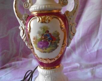 "Vintage Ceramic Regency Style Table Lamp, 1950s, 26 & 1/4"" Tall"