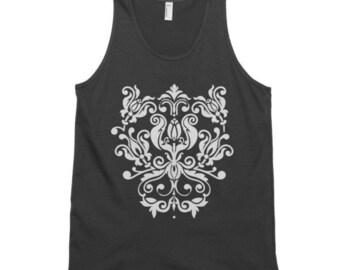 Yoga tank/Damask Print Tank tops/American Apparel/yoga tee/plussize/Pink/Black/printed/womens