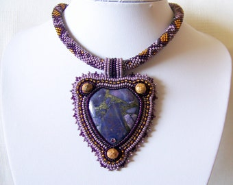 Bead Embroidery Statement Beadwork Pendant Necklace with Purple Sea Sediment Jasper and  Pyrite- PURPLE TREASURES - statement necklace