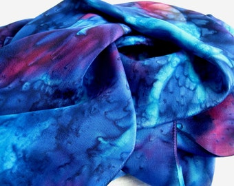 Dark Blue, Purple Hand Dyed Silk Scarf. 11x60 inch Silk Scarf in Turquoise, Sapphire Blue, Magenta Pink. Flat Back Crepe Silk. gift for her.