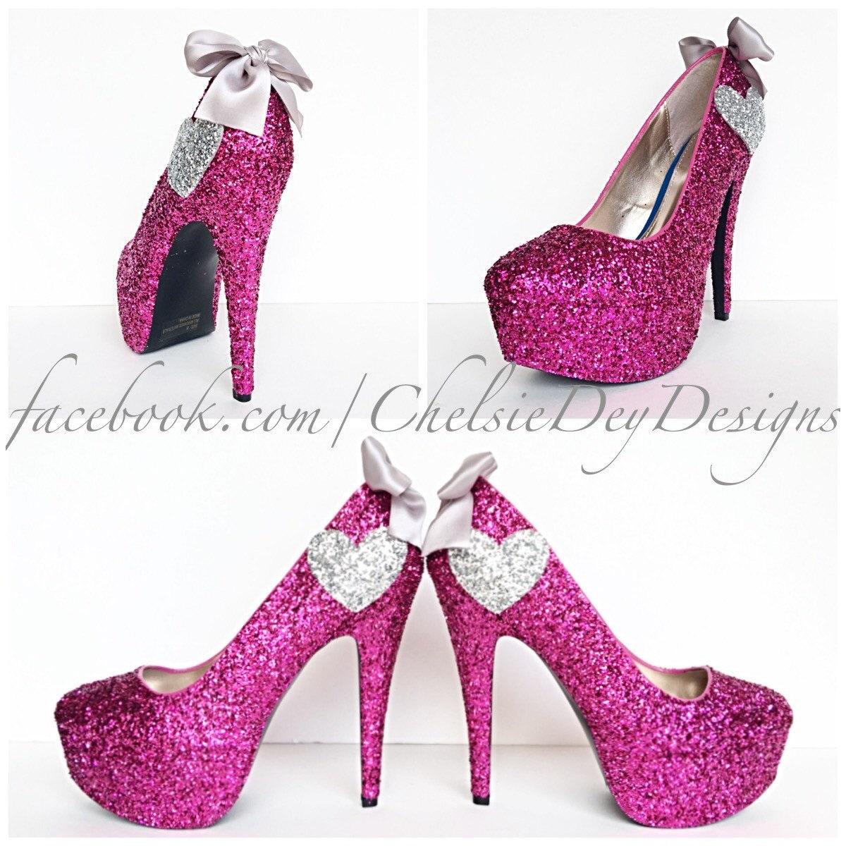 Glitter High Heels Hot Pink Pumps Sparkly by ChelsieDeyDesigns