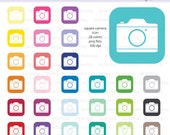 Camera Square Icon Digital Clipart in Rainbow Colors - Instant download PNG files