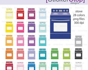Kitchen Stove Digital Clipart - Instant download PNG files