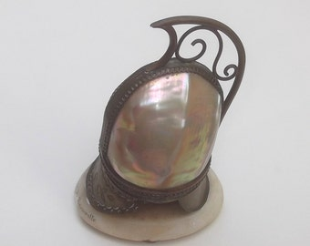 SUMMER SALE French Mother of Pearl Helmet Inkwell Holder