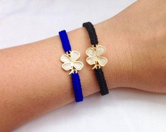 Wish Bracelets,Mother of Pearl Shamrock Bracelet, Clover Bracelet, Black Macrame Bracelet,Four Leaf Charm Bracelet,Shamrock Bracelet,Gift