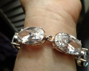 Breath taking Massive Stones set in Sterling bracelet Showy Fabulous