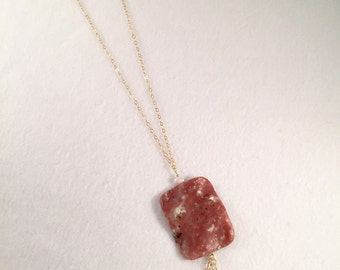 Long Necklace with Rhyolite Jasper square and Pink Freshwater Pearls on 14k Gold Filled chain