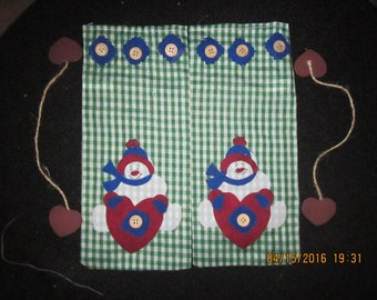Green Gingham Pair of Snowmen Fabric Gift Bags with Hearts