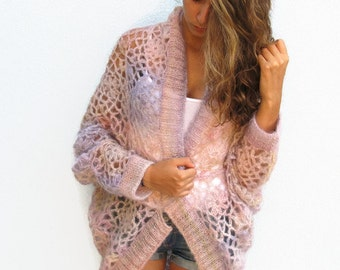 Knit Crochet Woman CARDIGAN Sweater Crocheted Lace Cardigan Hand Knit Sweater Cocoon