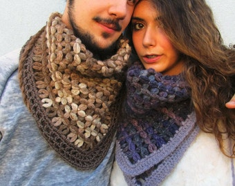 Cowl Scarf Bandana Woven Scarf Unisex Gift her - him Travel Scarf, Minimal Scarves Couple of scarves KrissWool