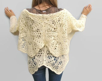 Woman Wool Cardigan Crocheted Knitted Cardigan Spring Clothing Ivory