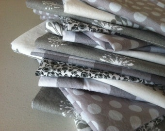 Cloth Napkins, Shades of Grey, Set of 6, 10 inch, by CHOW with ME