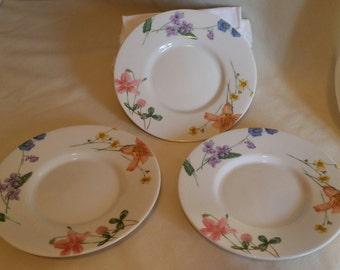 "Set of 3 Mikasa 6 1/4"" Saucer Plate Lilliette /  Floral Splendor"