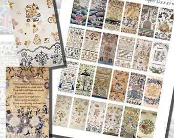 Victorian Sampler Printables of Needlework and Embroidery, DOMINO SIZE (1x2 Inches, 25x50 mm) AND Mini Domino Size (9/16 x 1 3/16 inches)