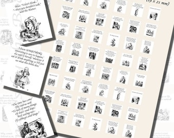 Lewis Carroll's Quotes from Alice in Wonderland Printables, SCRABBLE TILE SIZE (.75 x .83 Inches), 30 Illustrations Included, 48 Total