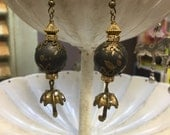 Umbrella Earrings, black gold, dangle, jewelry gift