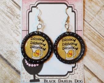 Drink Drank Drunk Inspired Glitter Bottlecap Earrings