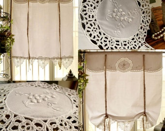 Antique Style FRENCH Country Window Curtain Vintage Tatted Lace Tie Up  Valance Roller Shade Grape White