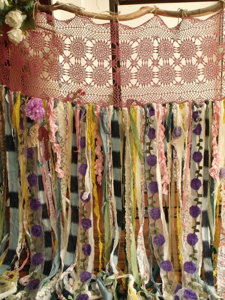 80wide X84long Boho Garland Curtain Gypsy Hippie